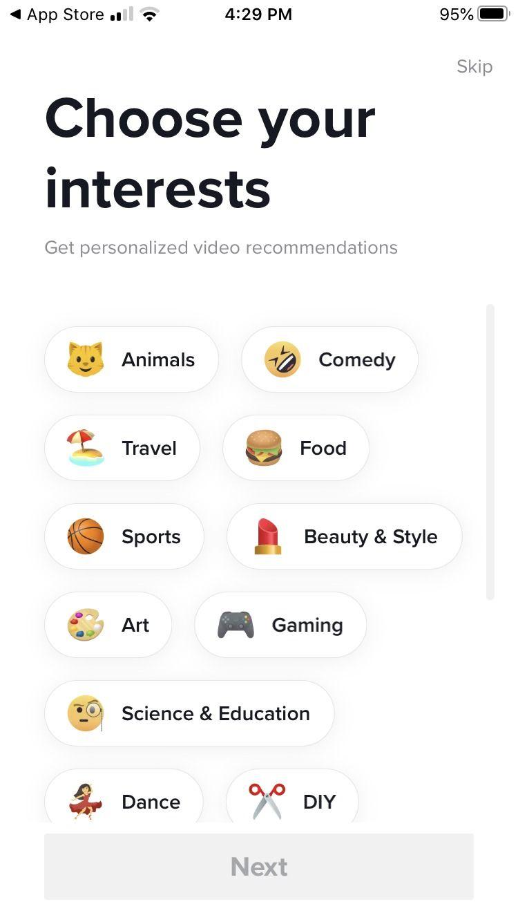 Choisissez votre page d'intérêts