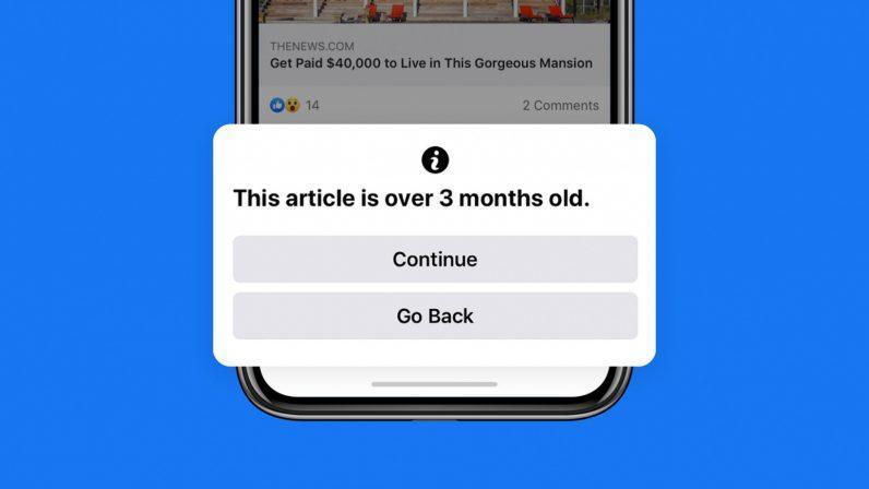 Facebook Vous Avertira Si Vous Partagez Un Articles De Plus De 3 Mois