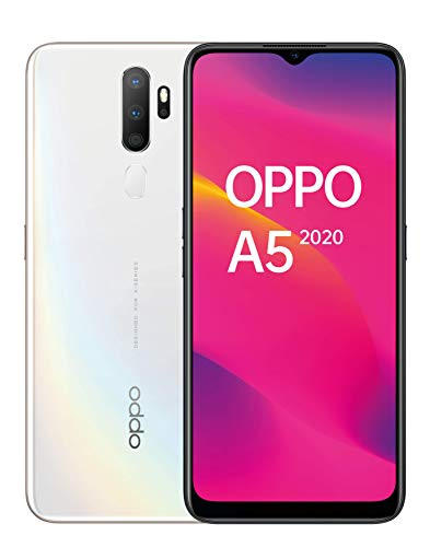 """OPPO A5 2020 - 6,5""""HD +, 4G double SIM, téléphone intelligent 3 Go / 64 Go, Qualcomm Snapdragon 665 Octacore, 12 Mpx + 8 Mpx (grand angle) + 2 Mpx + 2 Mpx, 5000 mAh, Android 9, blanc"""
