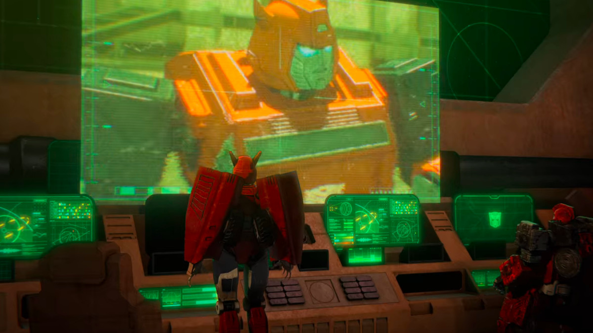 Cliffjumper on a screen in Transformers: War for Cybertron