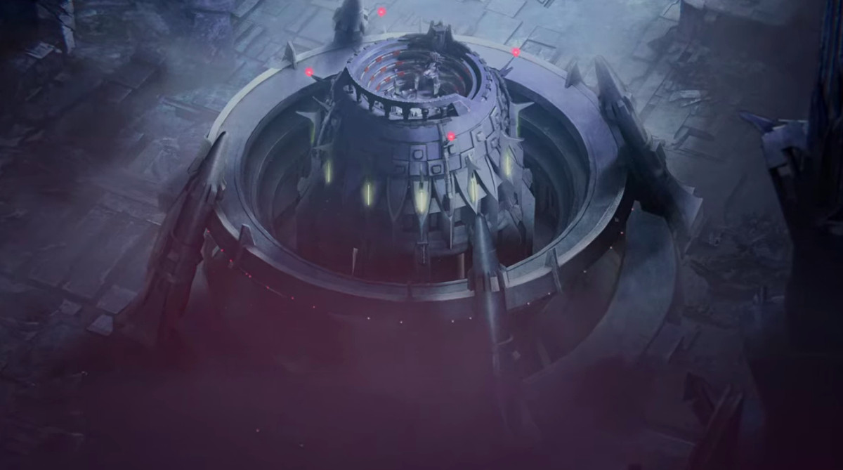 The Decepticon fortress in Transformers: War for Cybertron - Siege