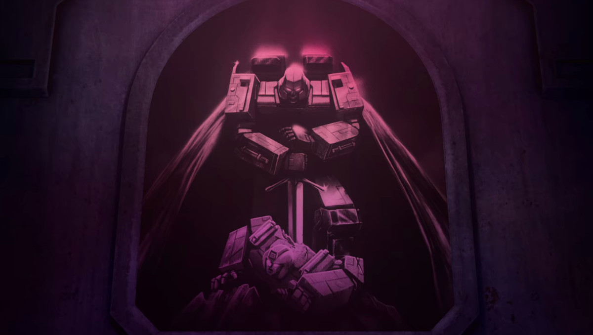 Megatron killing an Autobot with a sword mural in Decepticon headquarters in Transformers: War for Cybertron