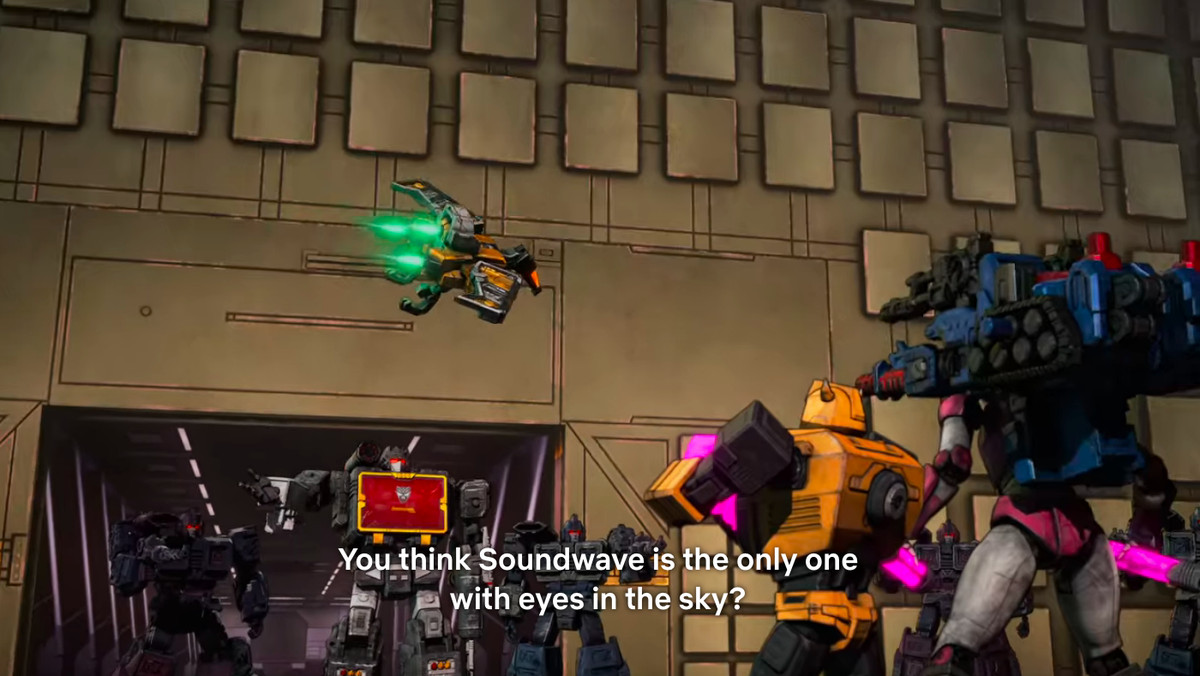 Soundblaster shows up with his plane friend on Transformers: War for Cybertron