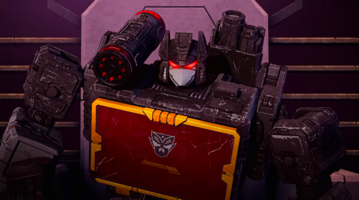 Soundblaster with Mercenaries sigil on his chest in Transformers: War for Cybertron