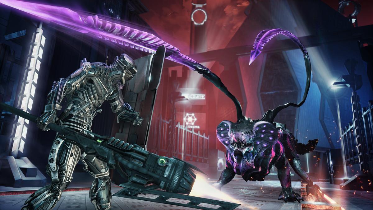 Un joueur de Hellpoint combat un boss lion-serpent