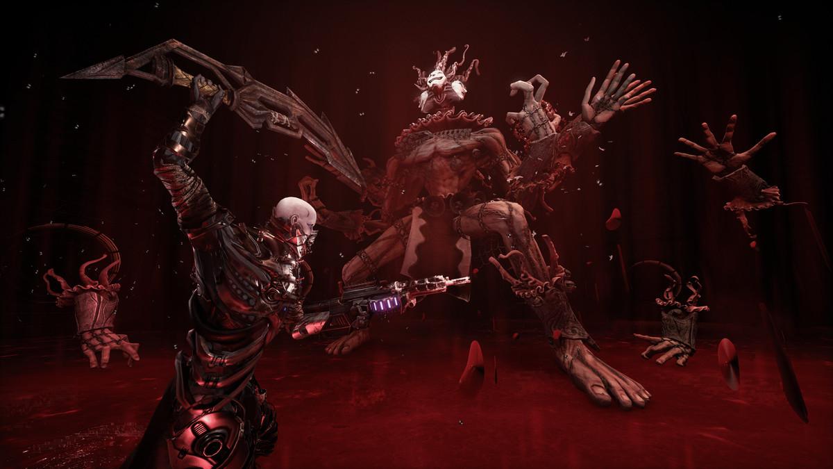 Hellpoint man utilisant une épée pour combattre un boss à plusieurs membres