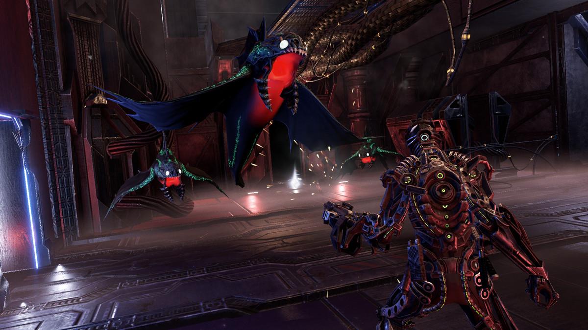 Personnage Hellpoint combattant un ennemi avec une arme à feu