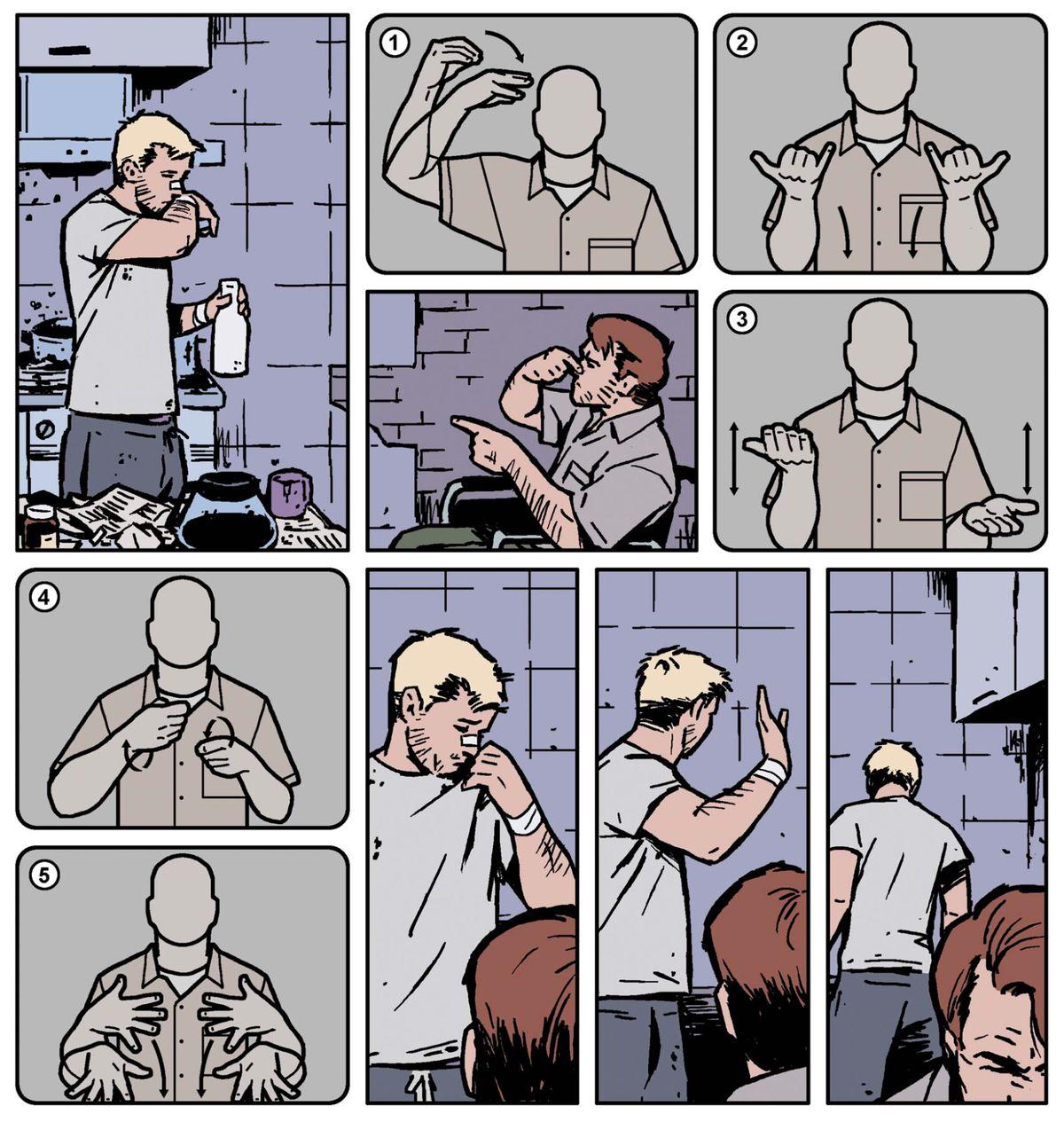 Hawkeye signe avec son frère, Barney, en langue des signes américaine dans Hawkeye # 19, Marvel Comics (2014).