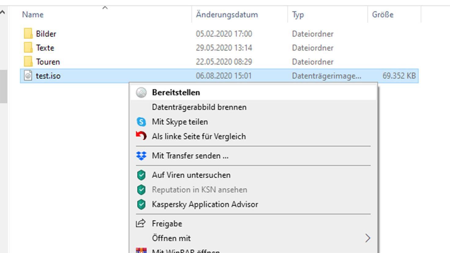 Créer un fichier ISO sous Windows: Fournir les données.