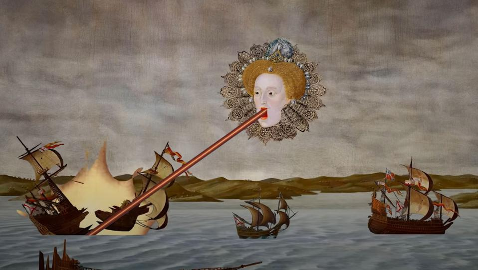 Elizabeth I tirant des gallons avec des lasers dans Rock of Ages 3