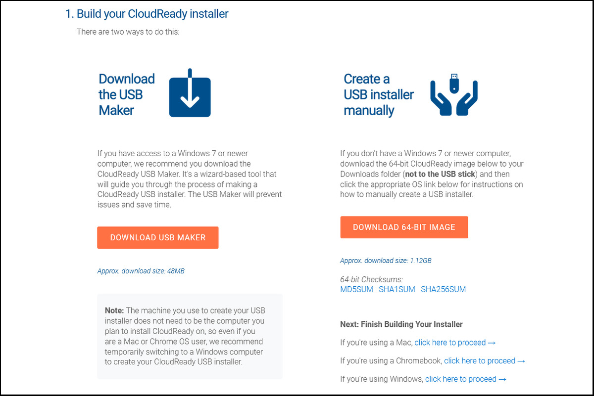 Informations d'installation de Neverware CloudReady Home Edition