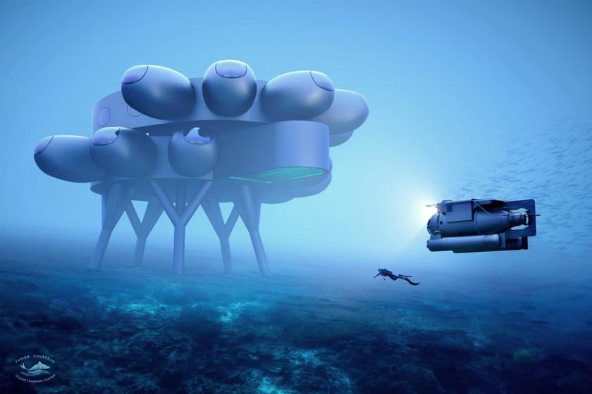 Ce bâtiment spectaculaire est l'habitat de recherche sous-marin que le petit-fils de Jacques Cousteau veut construire à Curaçao