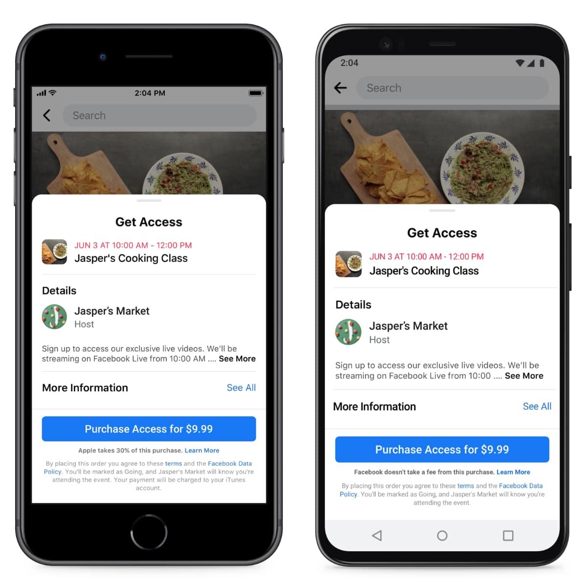 Événement en ligne payant Facebook pour iOS et Android