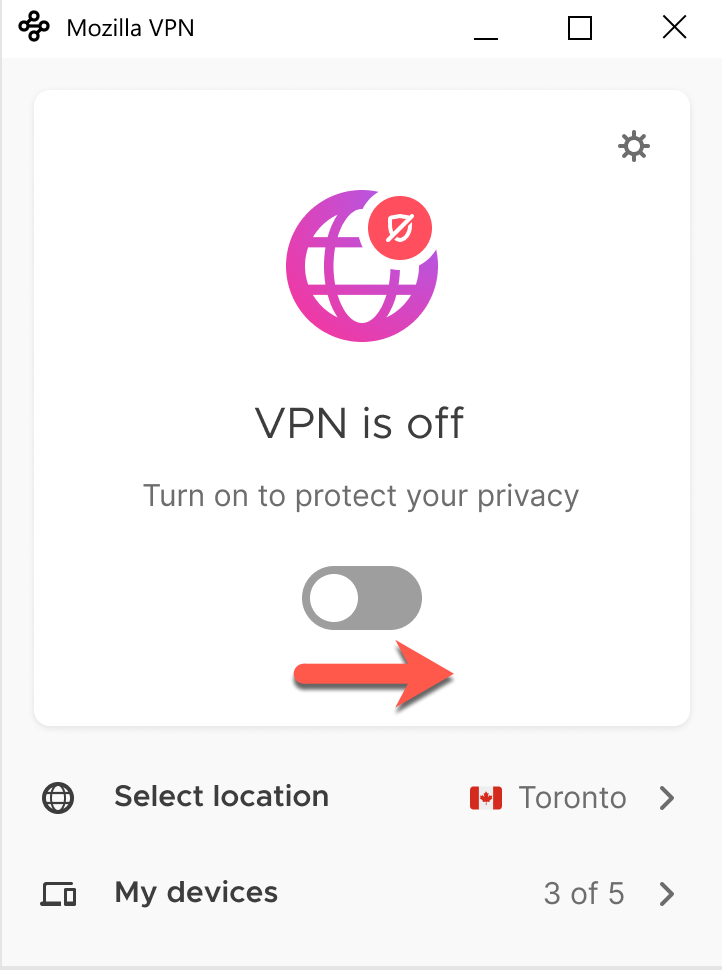 Mozilla VPN pour Windows