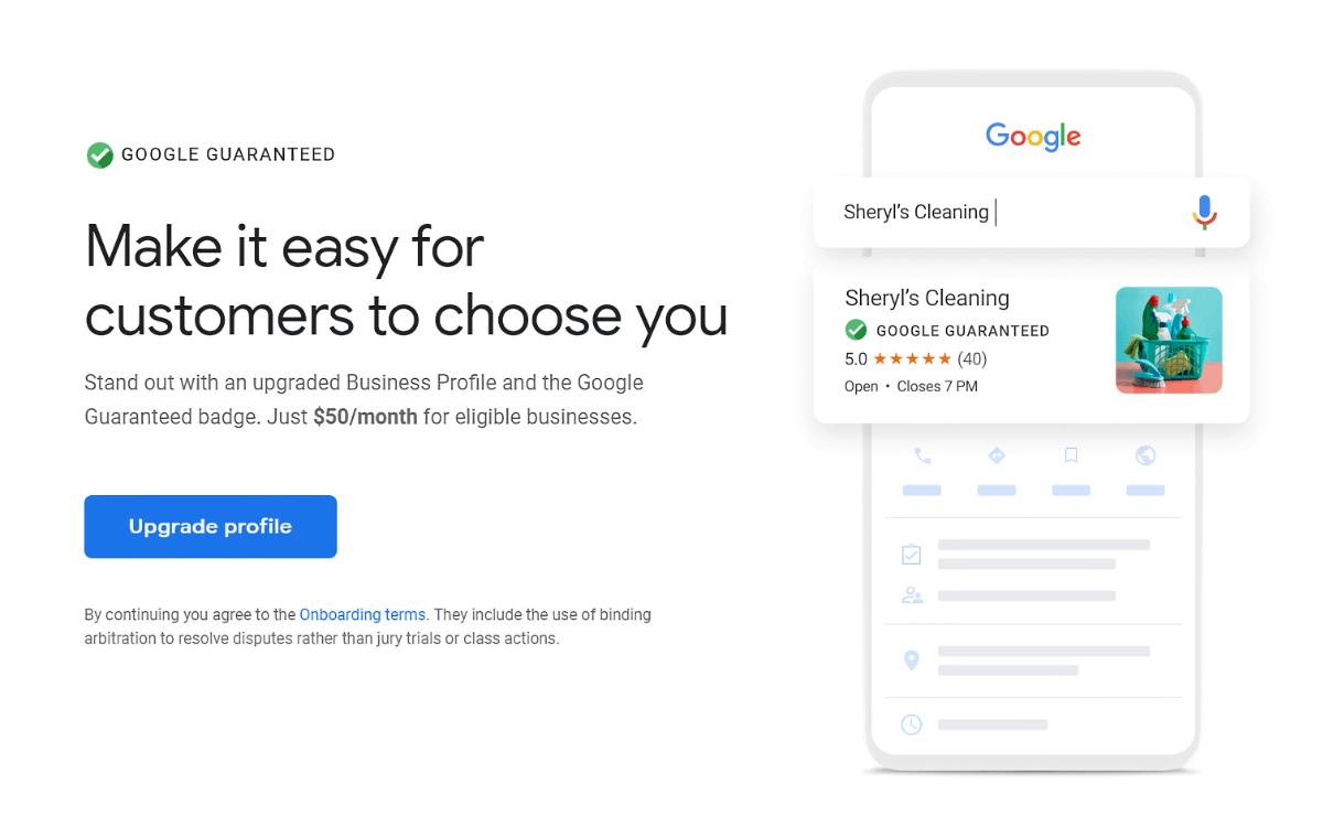 Mise à jour du profil d'entreprise garanti par Google