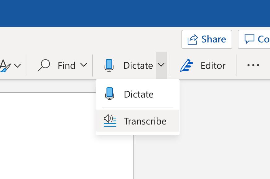 Transcrire dans le menu Word