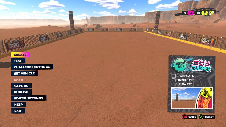 Les terrains de jeux créent le mode dans DIRT 5 de Codemasters.
