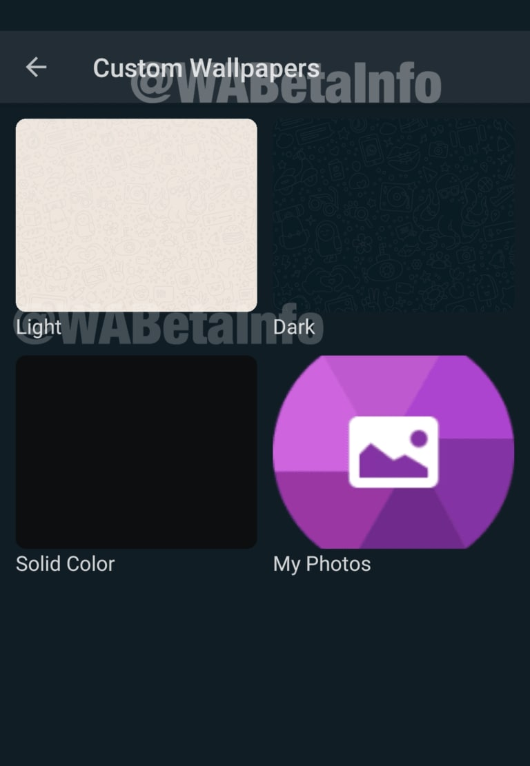 Les utilisateurs d'Android auraient des fonds d'écran clairs et sombres. Image: WAbetaInfo