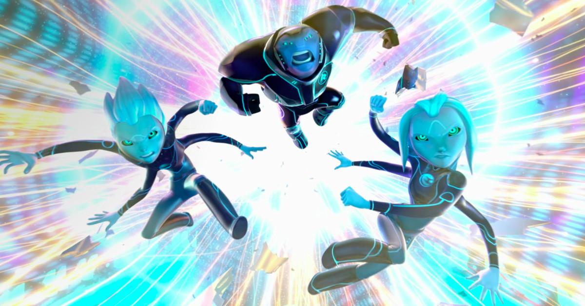 Trois extraterrestres à la peau bleue sautent devant un fond coloré sur 3Below