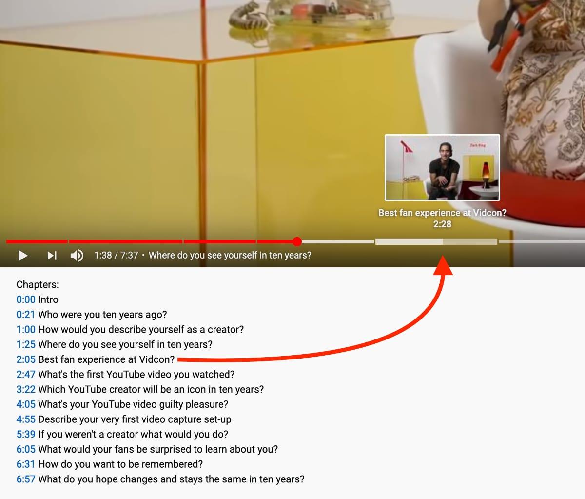 Chapitres vidéo YouTube