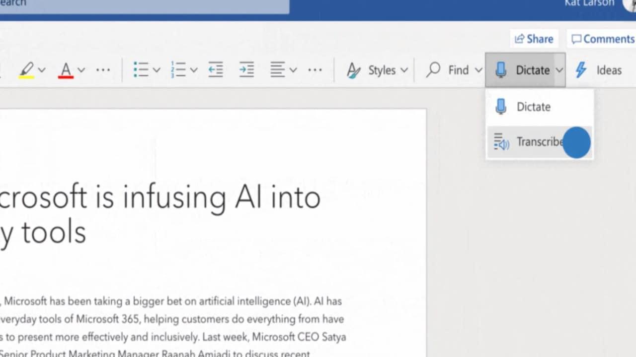 Microsoft Introduit La Fonctionnalité De Transcription Dans Word Pour Les