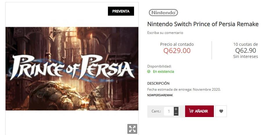 Prince Of Persia: Remake Probablement Sec