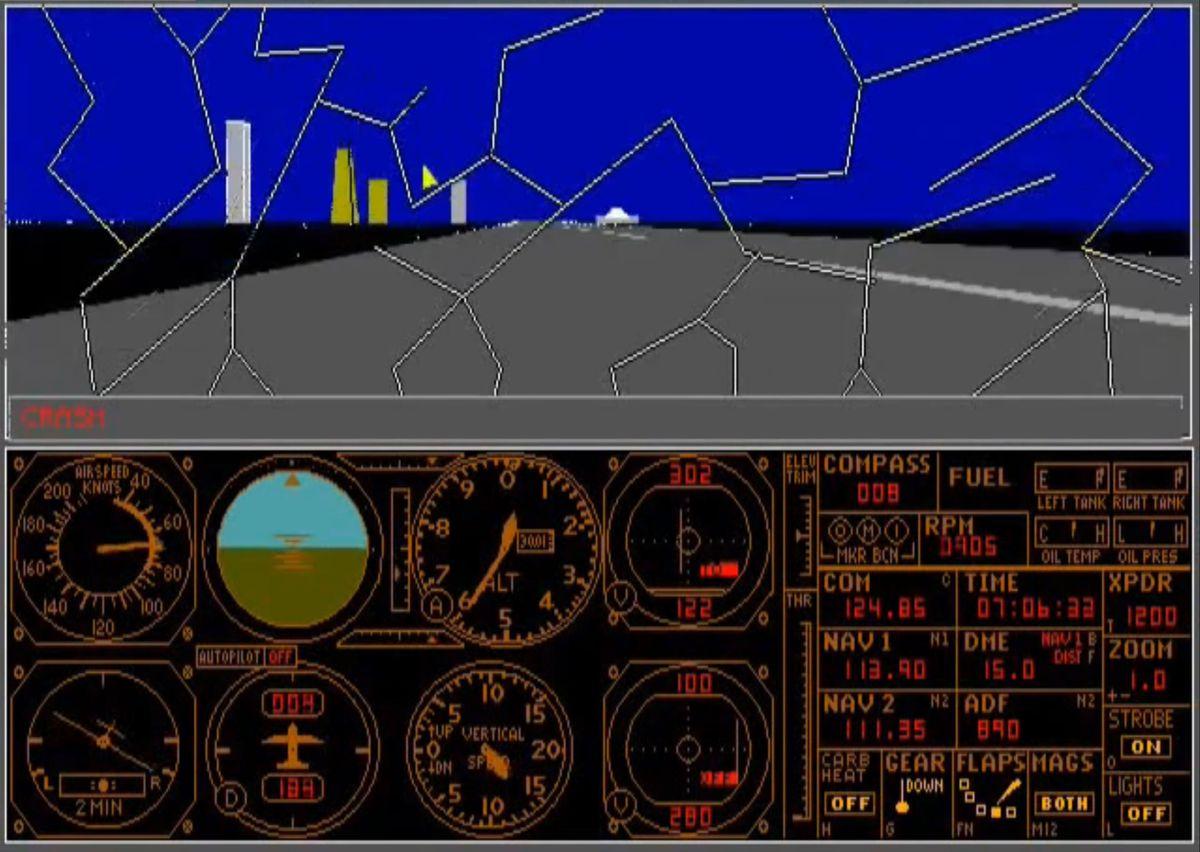 Un pare-brise fissuré dans Microsoft Flight Simulator 3.0