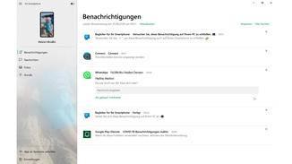 Les notifications du téléphone mobile sont ensuite également reçues dans l'application PC.