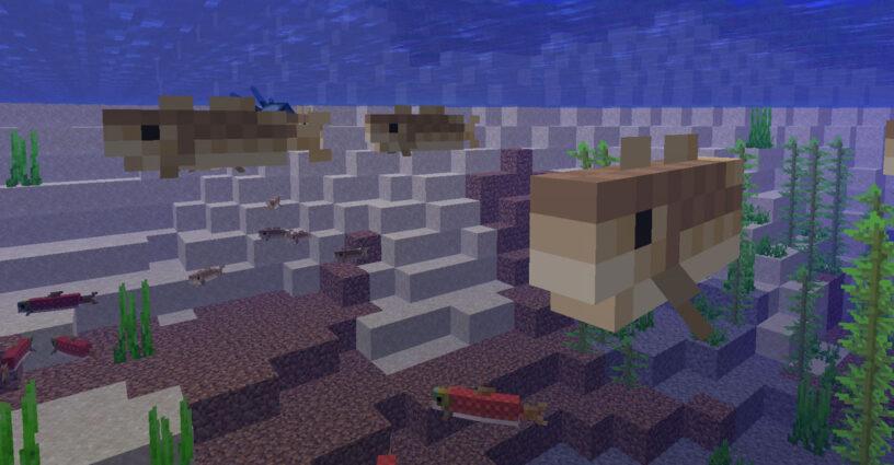 Morue et saumon nageant dans l'eau à Minecraft