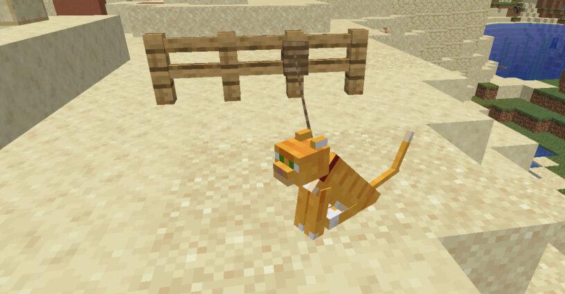 Chat en laisse attaché à une clôture dans Minecraft