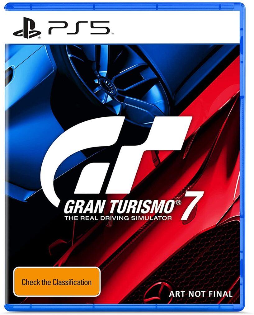 Un espace réservé pour l'art de la boîte pour le jeu PlayStation 5 Gran Turismo 7