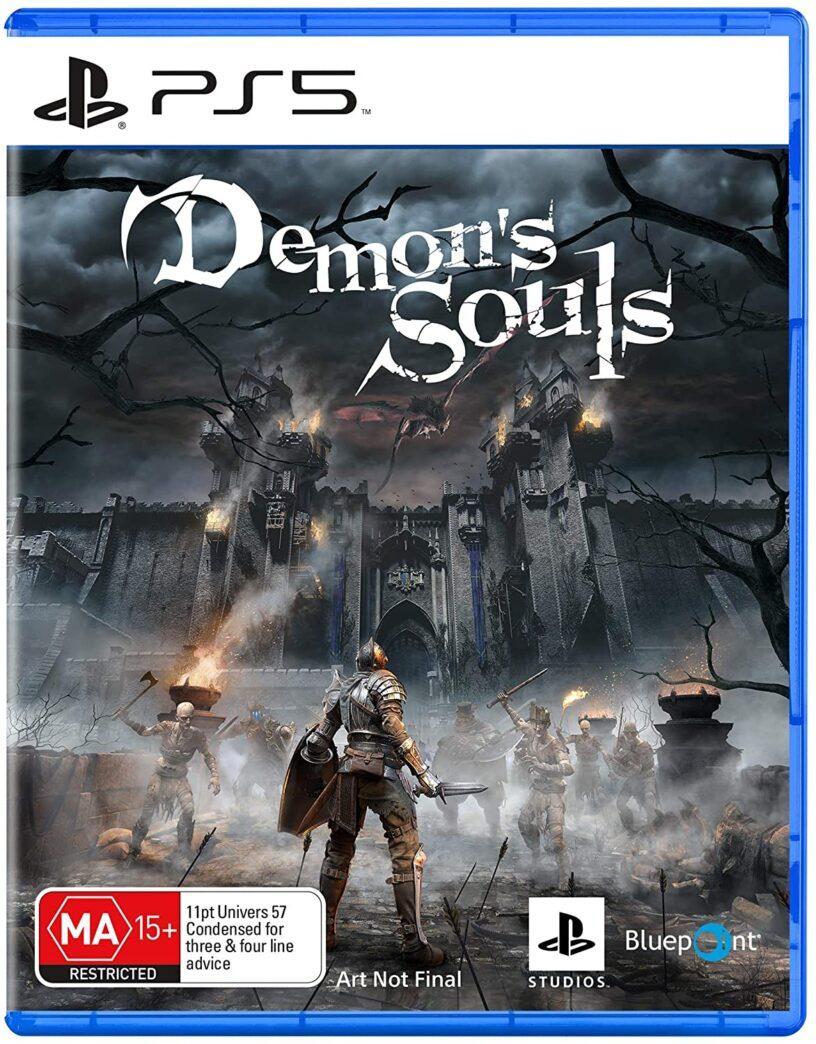 Un espace réservé pour l'art de la boîte pour le jeu PlayStation 5 Demon Soul's