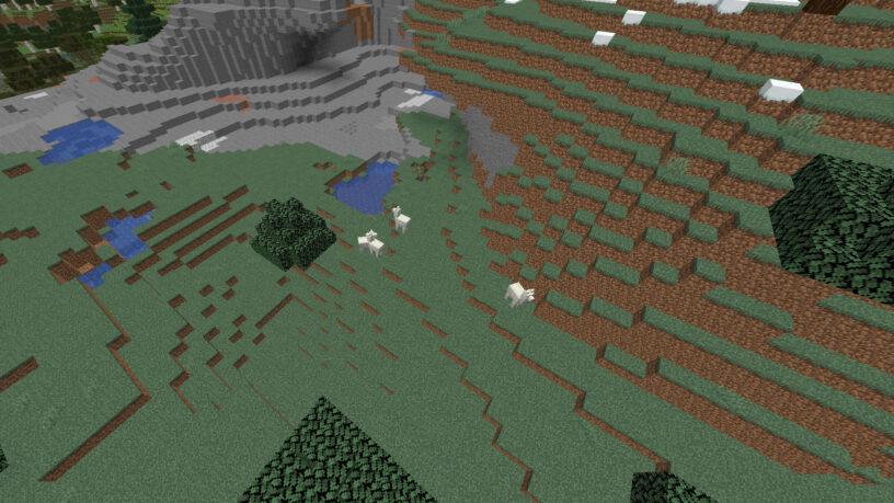 Troupeau de lama dans un biome de montagne à Minecraft