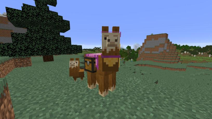 Llama portant un tapis rose dans Minecraft