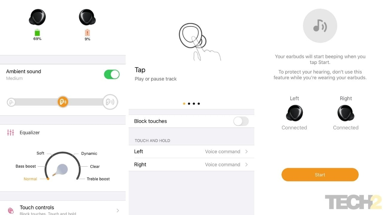 Capture d'écran de l'application Samsung Galaxy Buds.