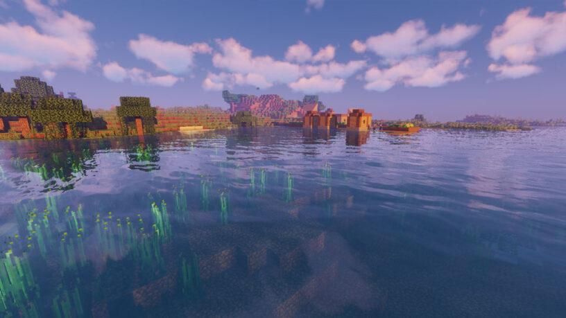 Exemple de capture d'écran du shader Vibrant de Sildur dans Minecraft