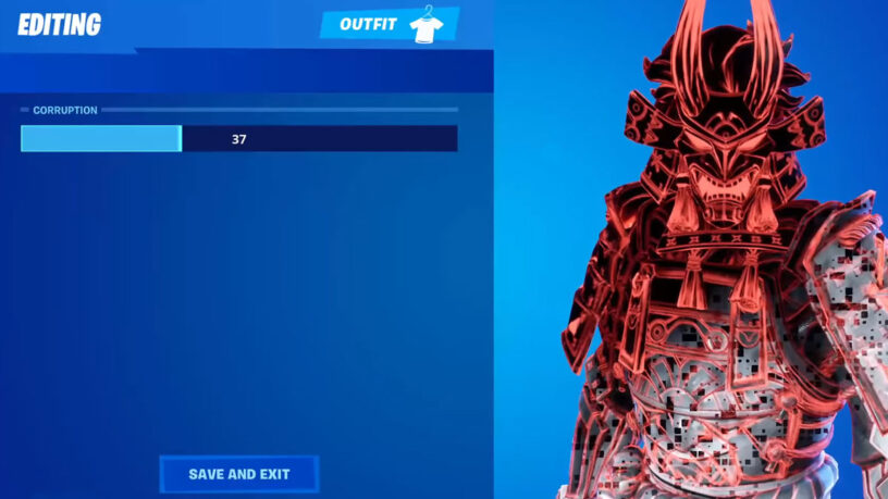 Exemple de niveau de corruption sur le skin Shogun Fortnite corrompu