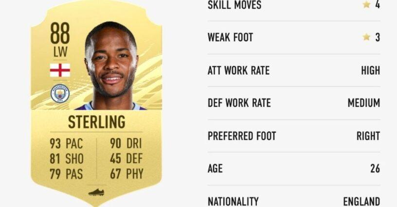Carte de joueur de Raheem Sterling dans FIFA 21