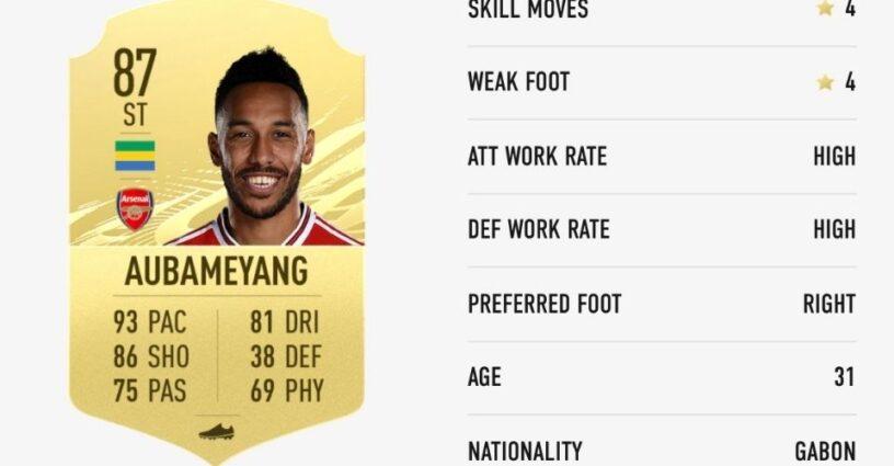 Carte de joueur d'Aubameyang dans FIFA 21