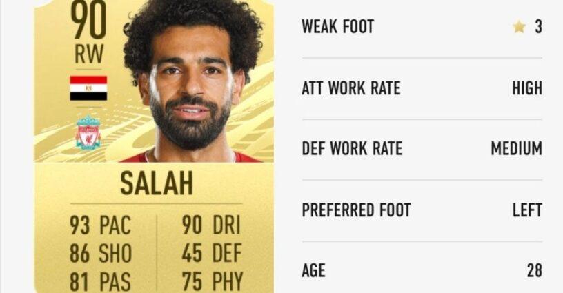 Carte de joueur de Salah dans FIFA 21