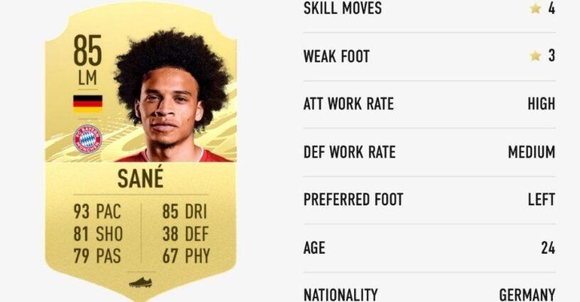 La carte de notation de Sane dans FIFA 21