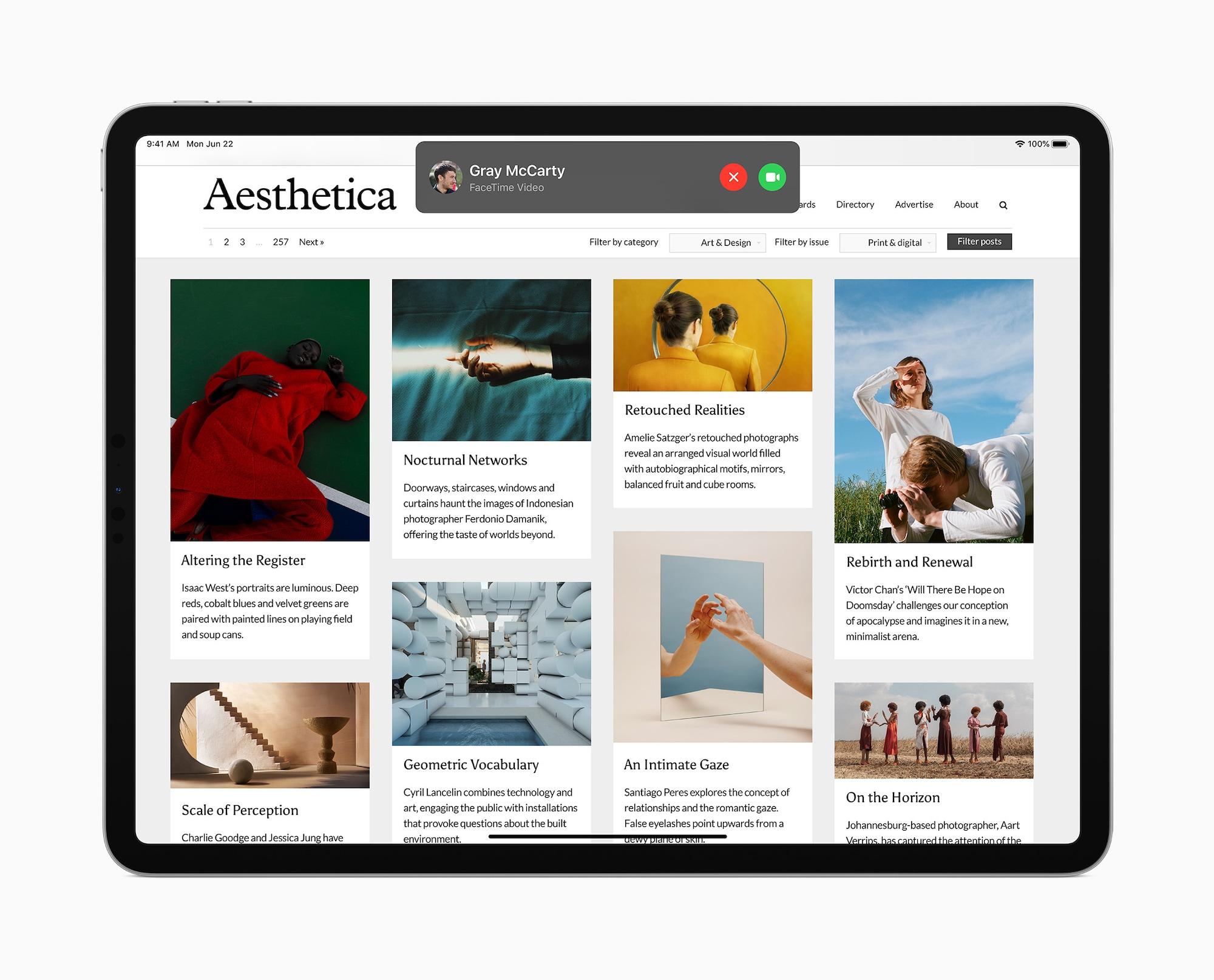 Notifications d'appels iPadOS