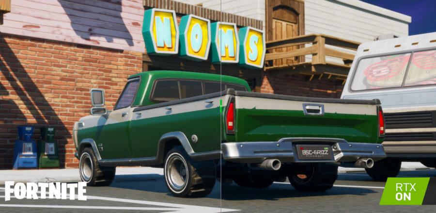 Exemple de Ray Tracing sur un camion à Fortnite