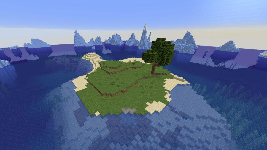 Île Minecraft entourée d'icebergs