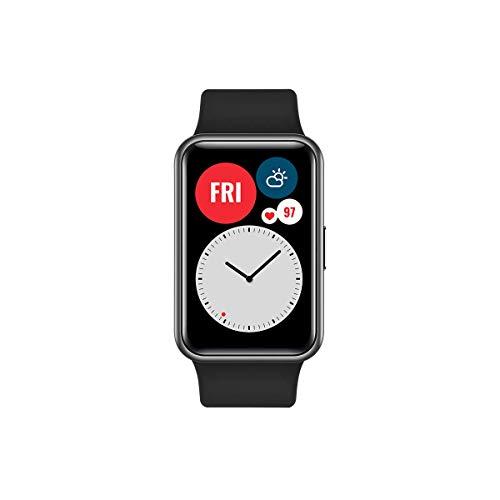 HUAWEI Watch FIT - Montre intelligente avec corps en métal, écran AMOLED de 1,64 po, batterie jusqu'à 10 jours, 96 modes d'entraînement, GPS intégré, 5ATM, couleur noire