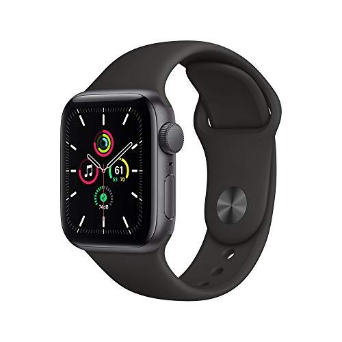 Nouveau boîtier en aluminium gris sidéral pour Apple Watch SE (GPS, 40 mm) - Bracelet sport noir