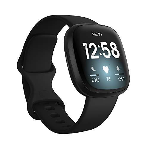 Fitbit Versa 3 - Montre intelligente de santé et de remise en forme avec GPS intégré, analyse continue de la fréquence cardiaque, Alexa intégrée et batterie de +6 jours, noir