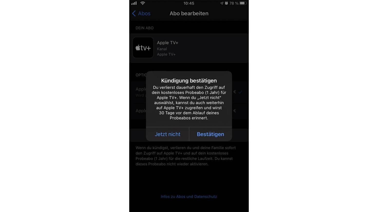 Annuler l'abonnement d'essai Apple TV +