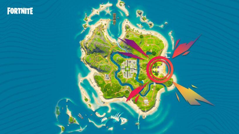 Carte Fortnite Party Royale avec scène principale marquée