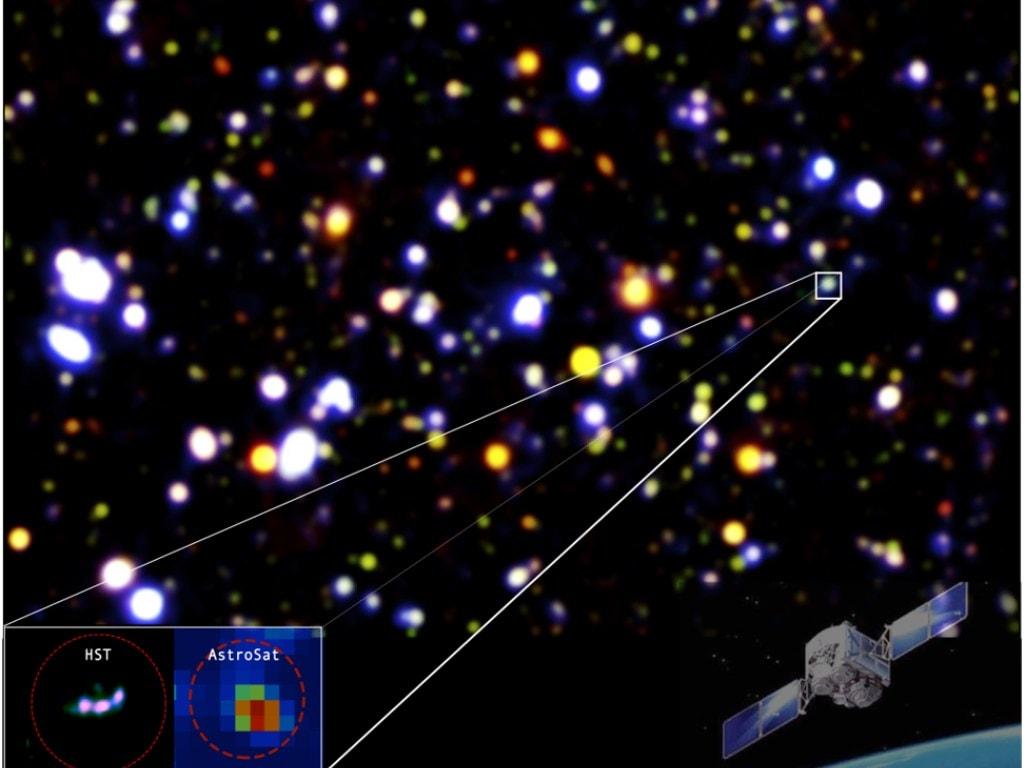 Les ISRO AstroSat détecte la galaxie qui est l'une des premières sources de lumière UV dans l'espace